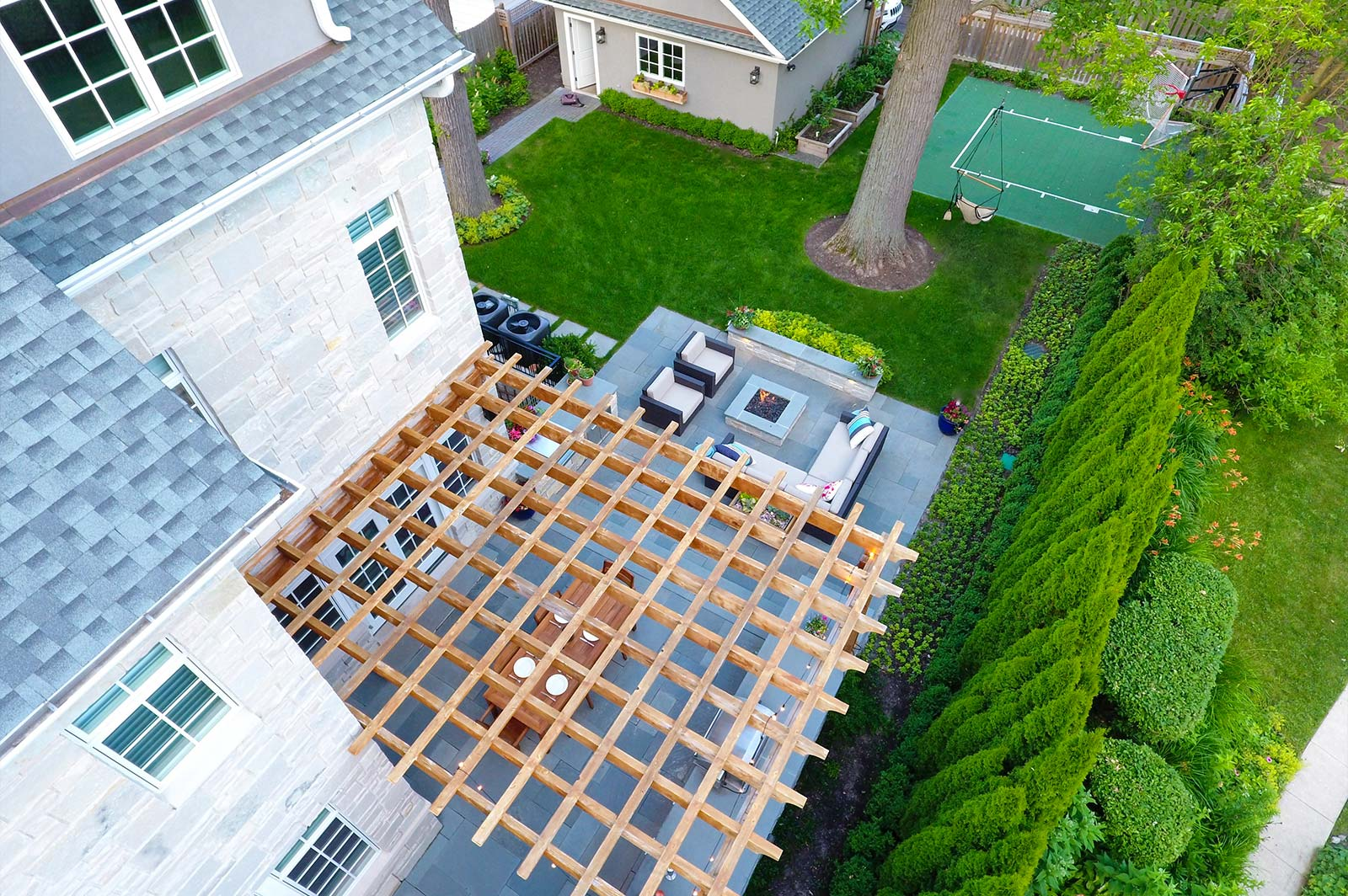 O'Brien Landscape | Custom Pergola Drone view